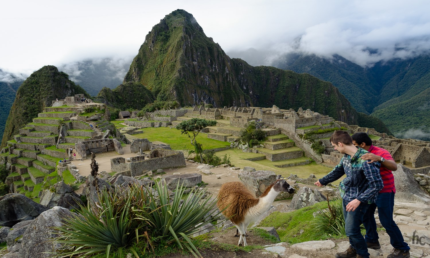 two Bentley students studying abroad in Peru at Machu Picchu