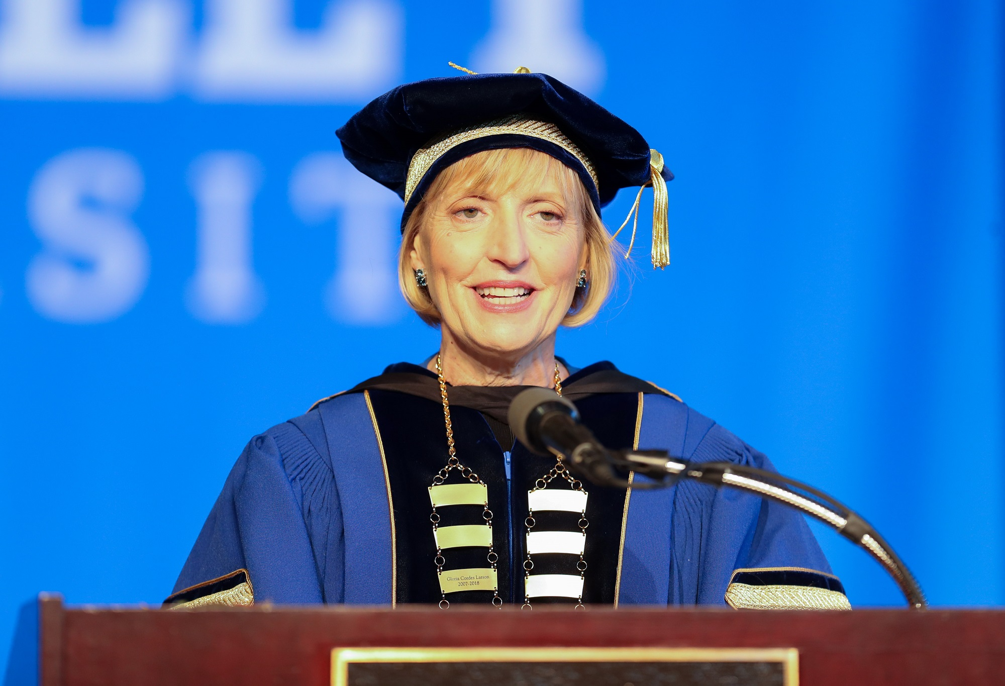 President Davis-Blake speaking at inauguration