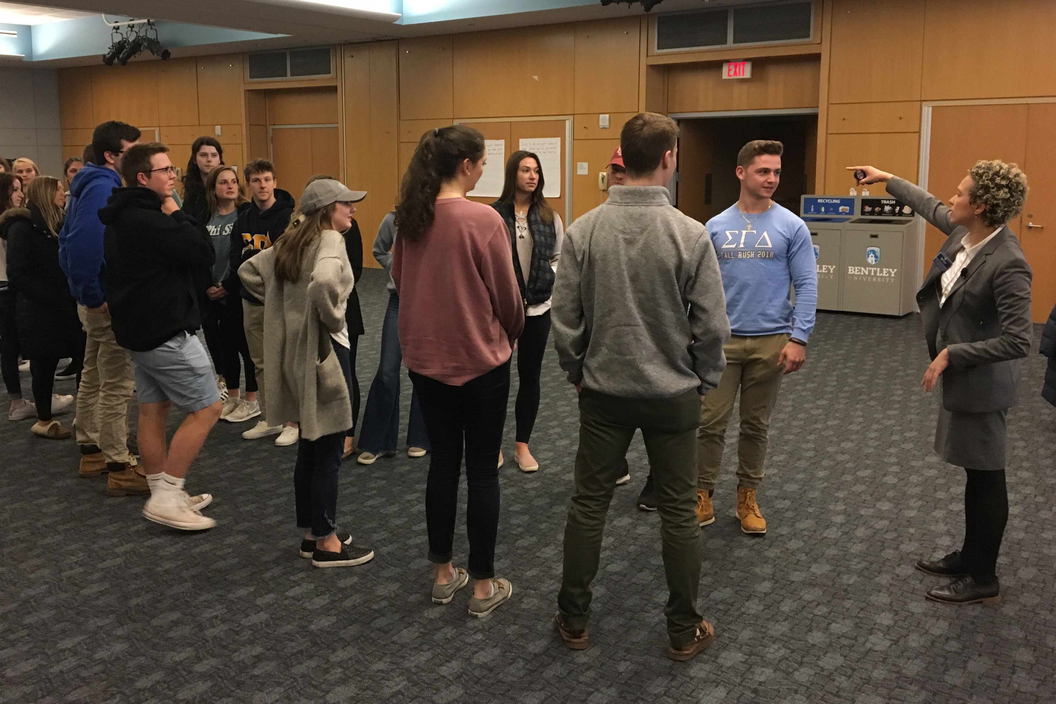 Bentley students at Perspectives event participate in a active listening exercise