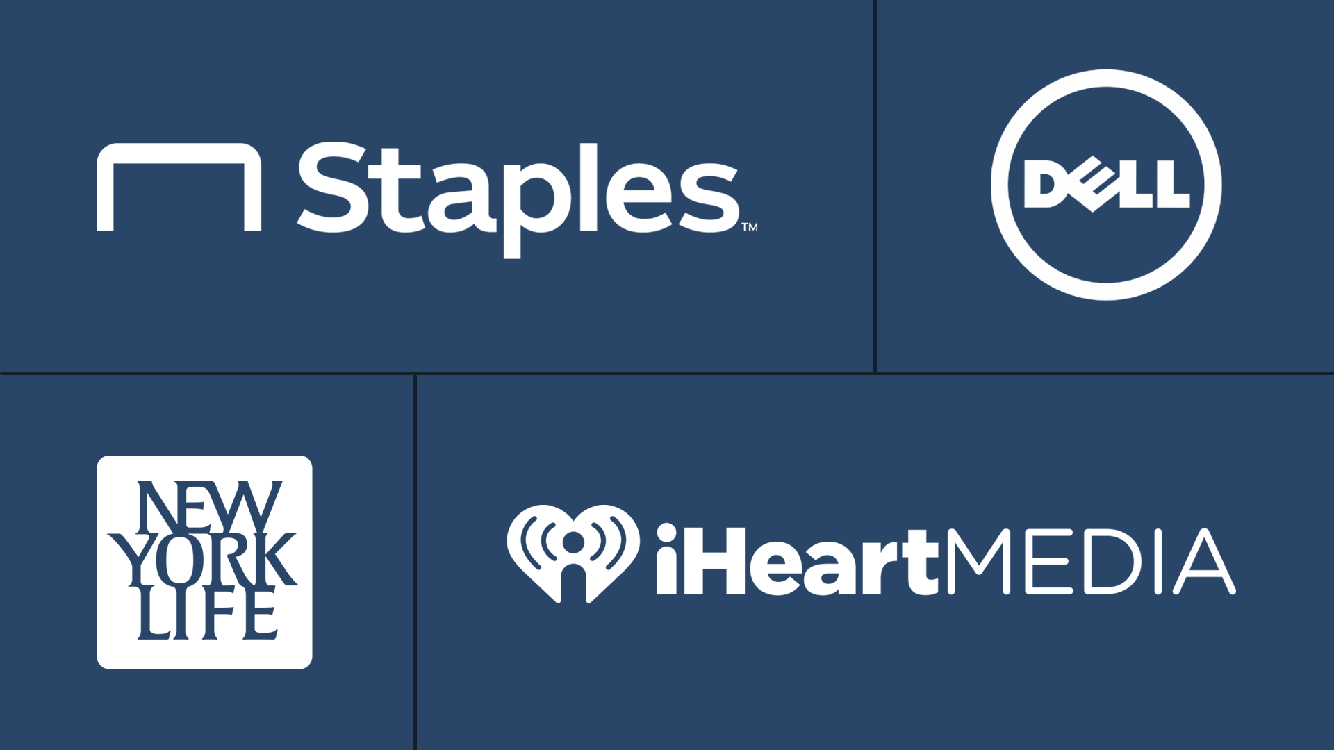 Staples logo, Dell logo, New York Life logo, iHeart Media logo