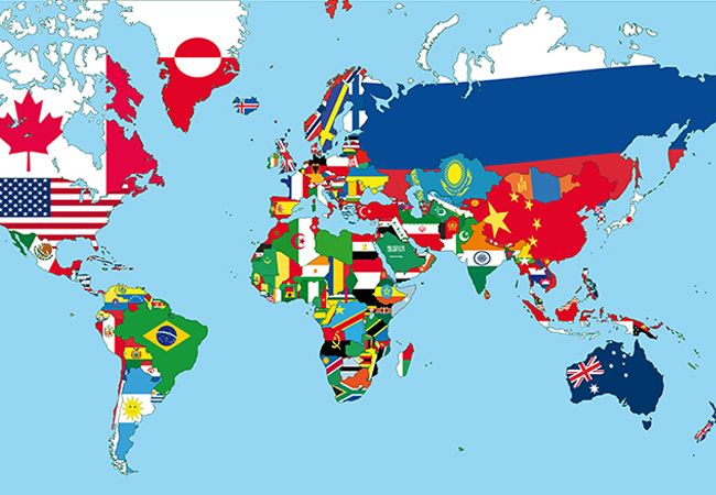 map of the world with country flags