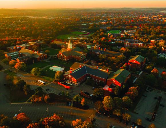 bentley aerial shot of campus