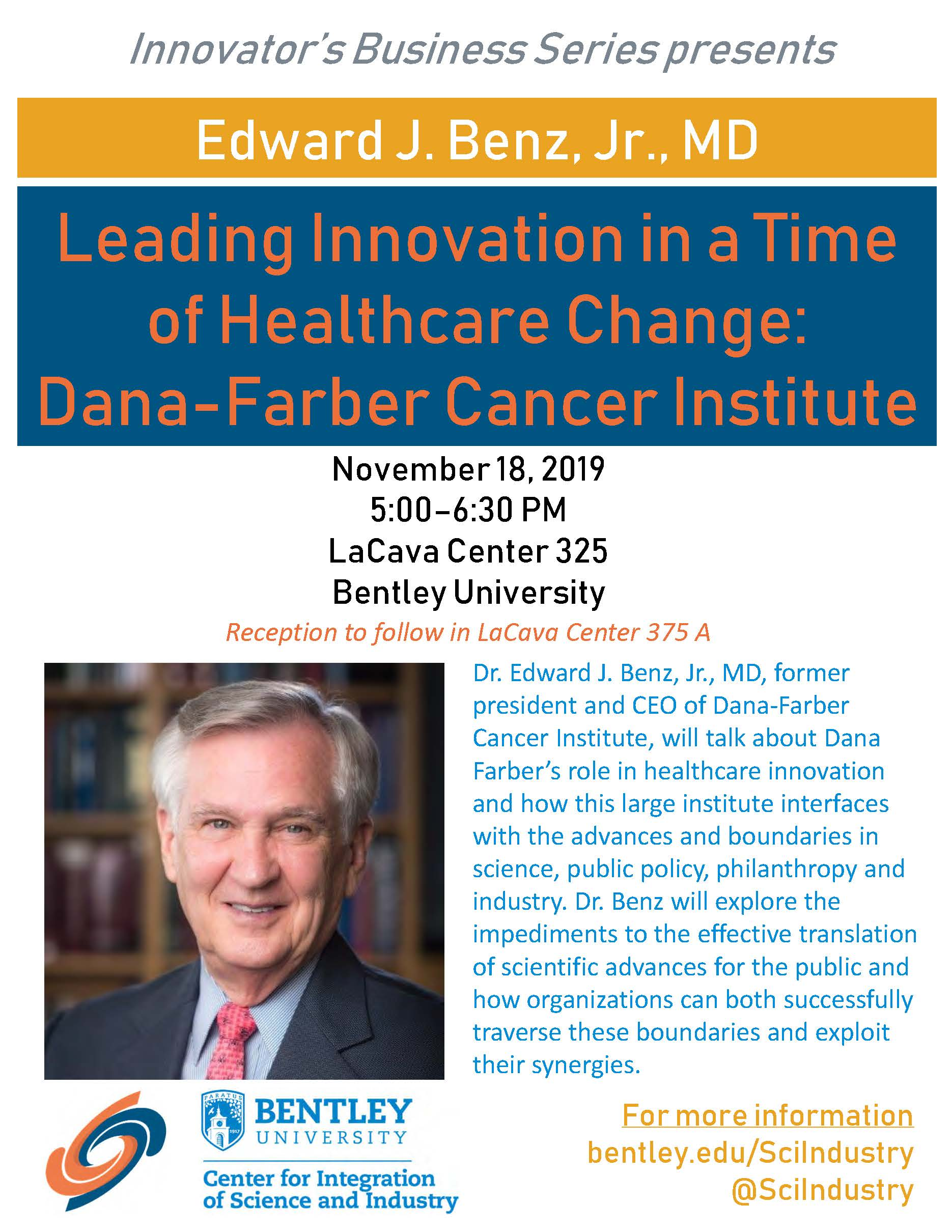 Leading Innovation in a Time of Healthcare Change: Dana-Farber Cancer Institute event poster