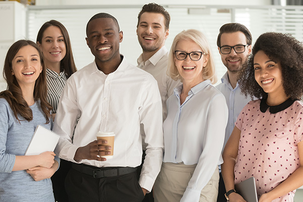 Diverse working team smiling take a standing together and taking a break