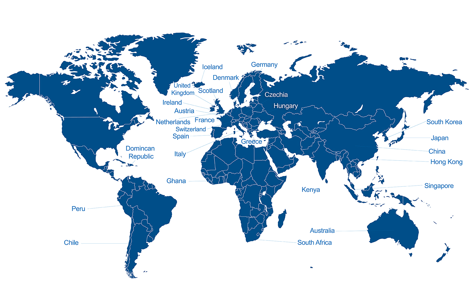 Map of Countries Bentley Students Study Abroad