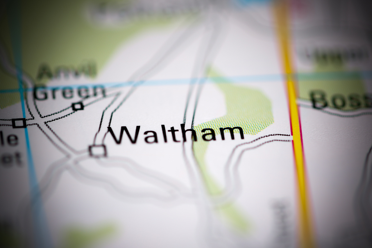 Map the shows Waltham in relation to Boston