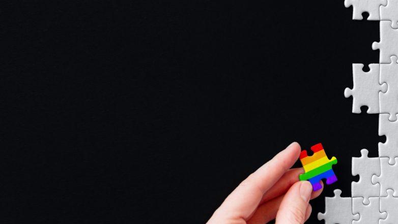 A rainbow puzzle piece amongst grey puzzle pieces