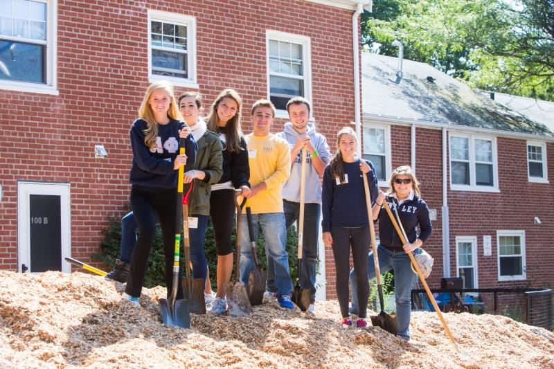 service learning students work at prospect hill in waltham mass