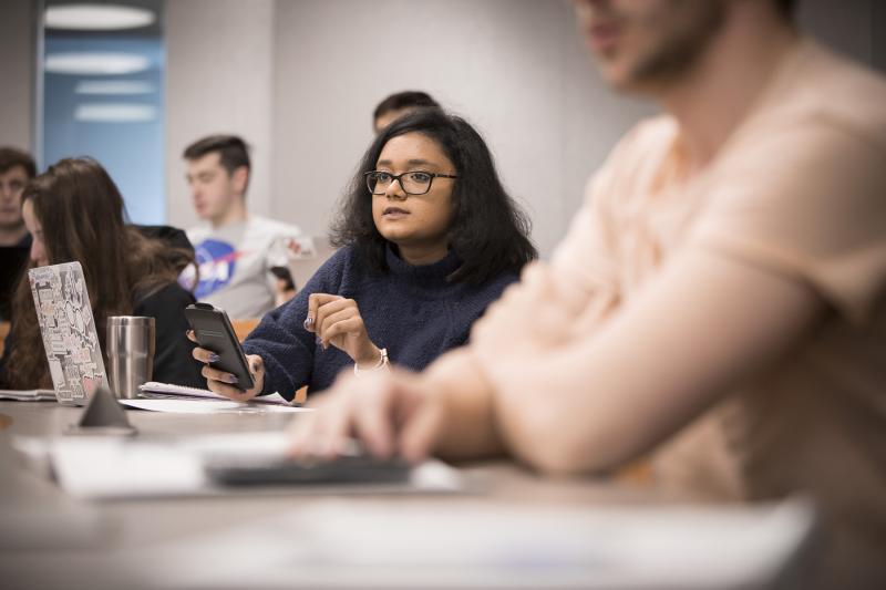 student participates in class