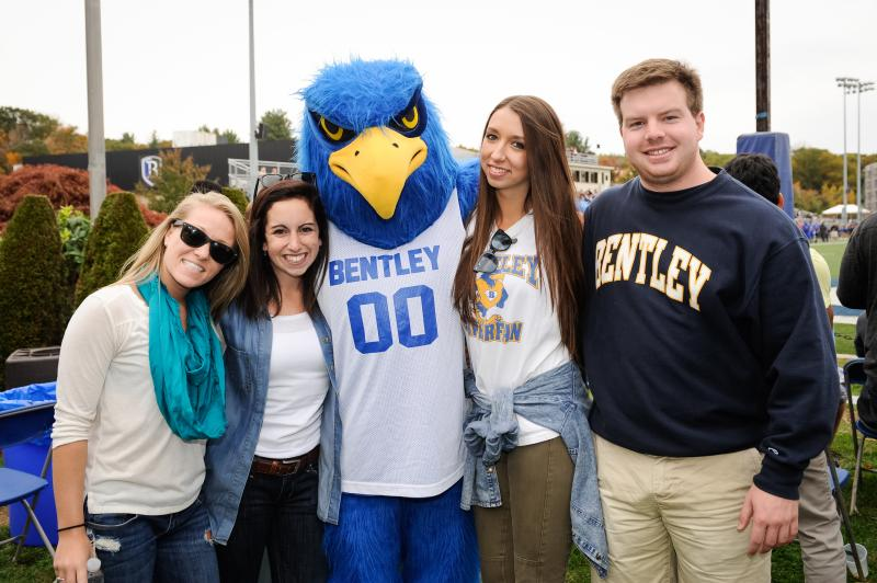bentley students with flex the falcon