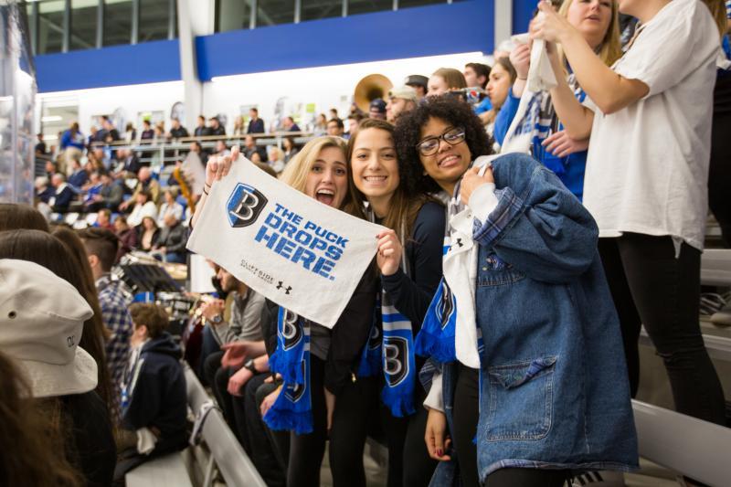 students at hockey game