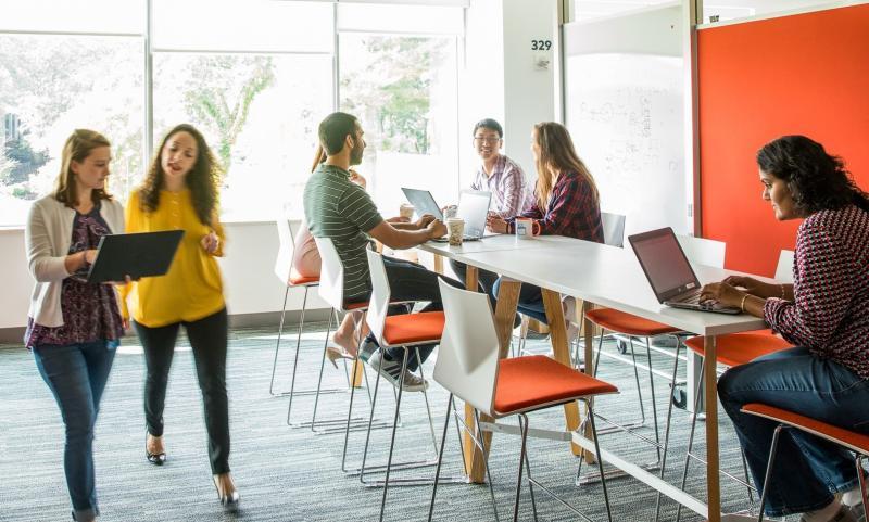 Interns working in a modern office