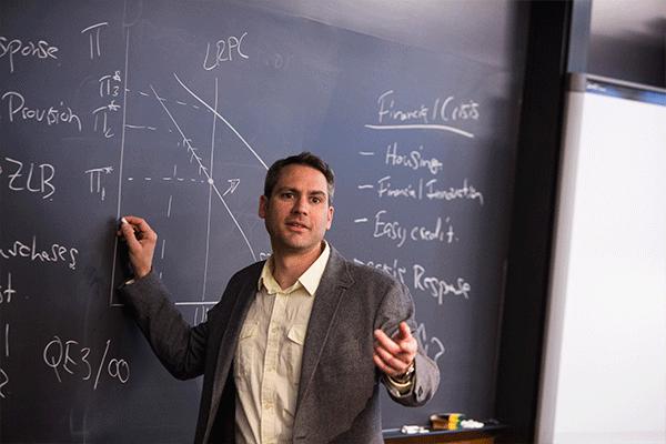 Professor at chalkboard